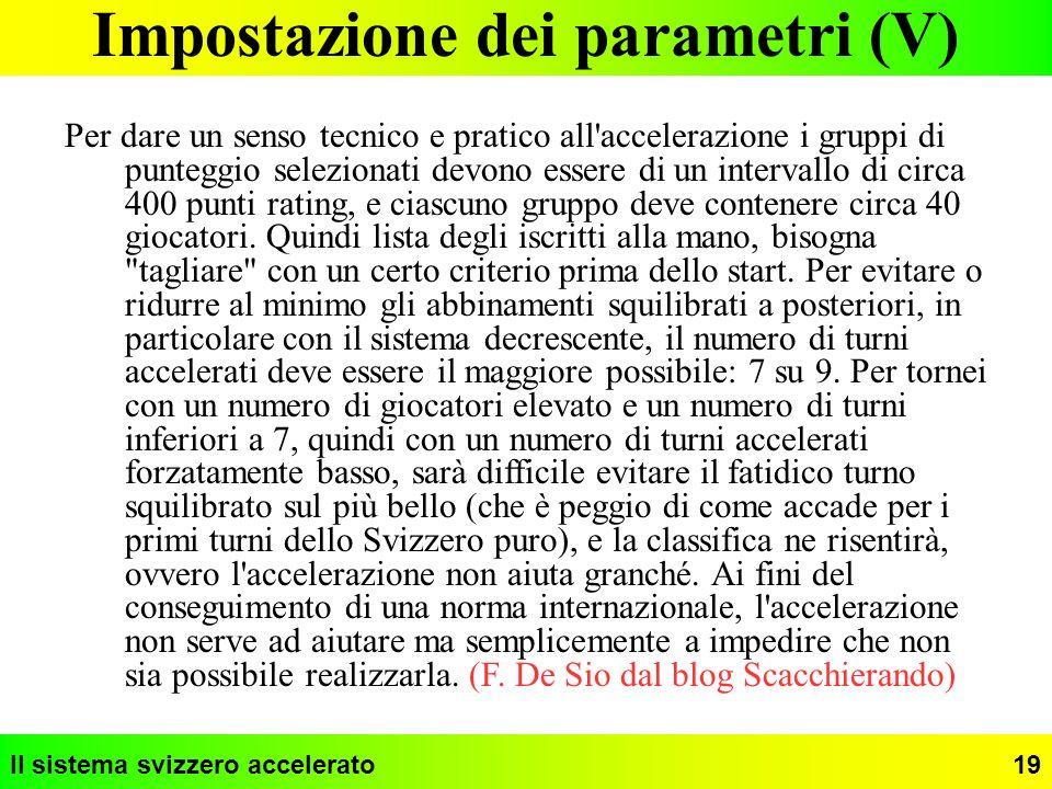 Impostazione dei parametri (V)