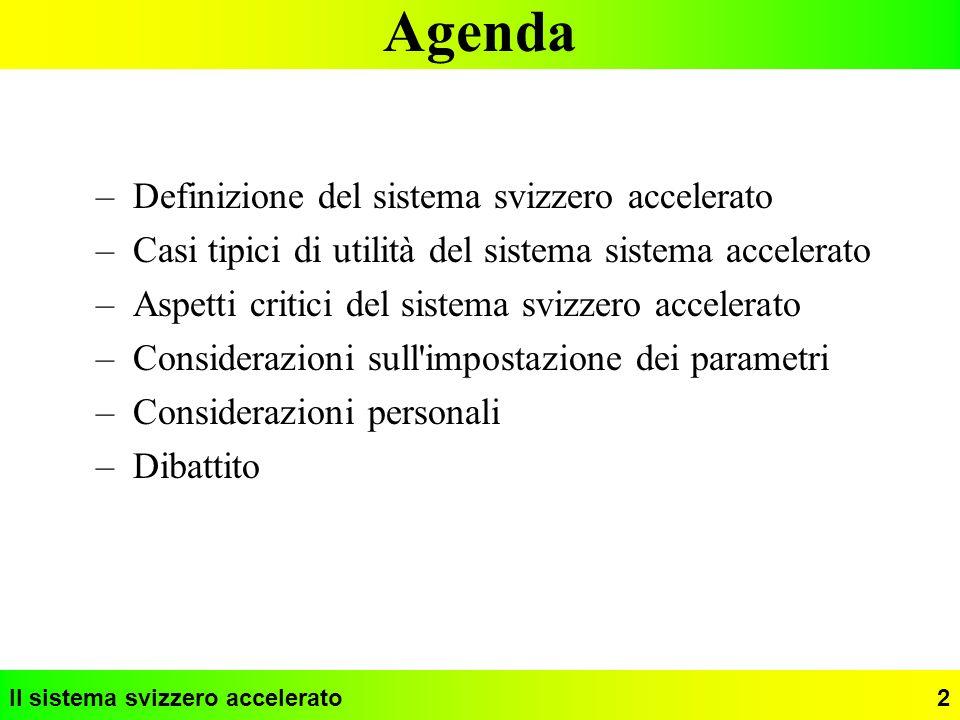 Agenda Definizione del sistema svizzero accelerato