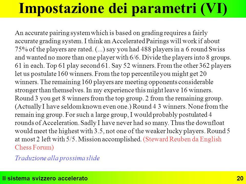Impostazione dei parametri (VI)