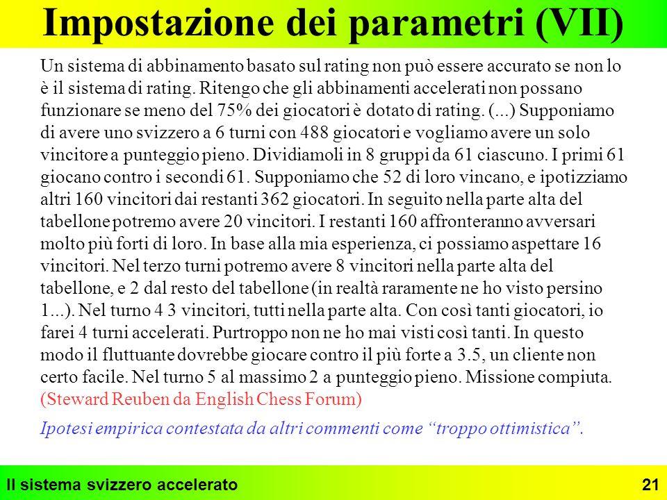 Impostazione dei parametri (VII)