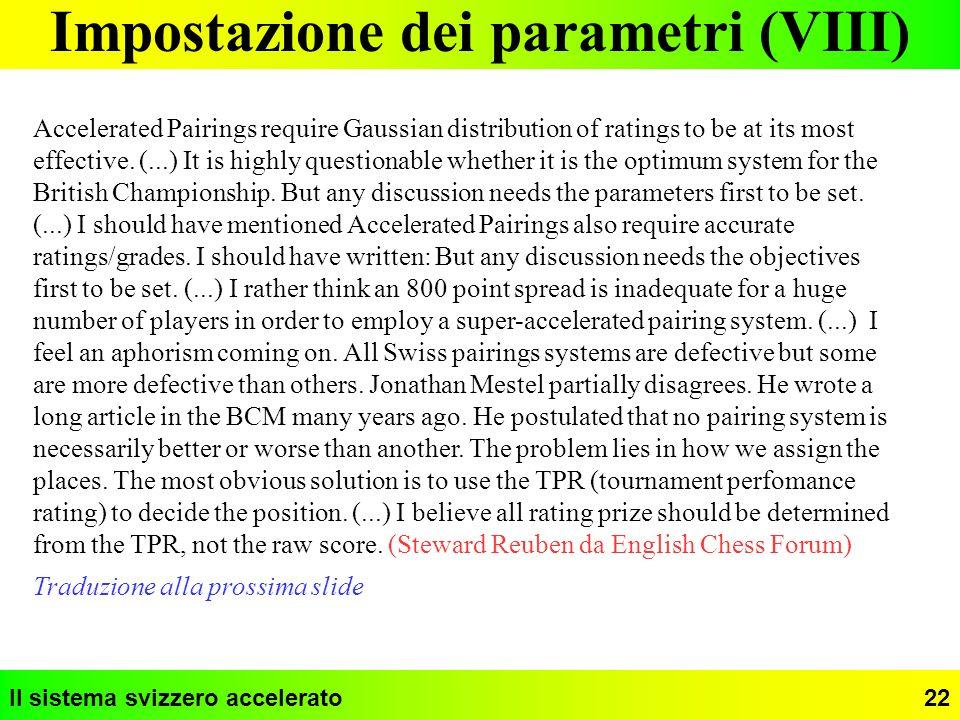 Impostazione dei parametri (VIII)