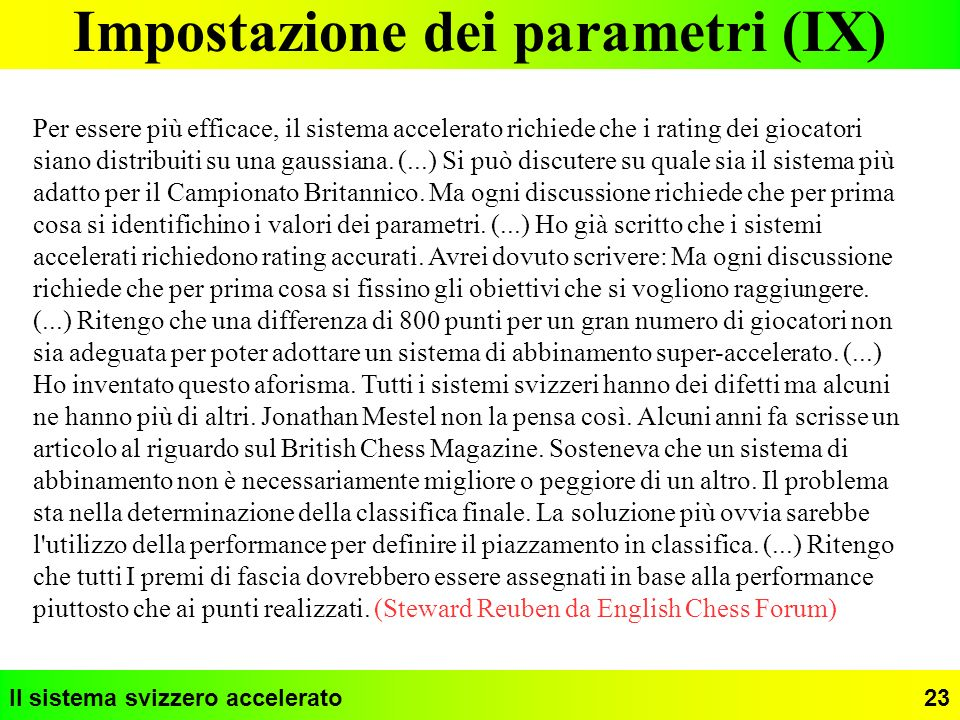 Impostazione dei parametri (IX)
