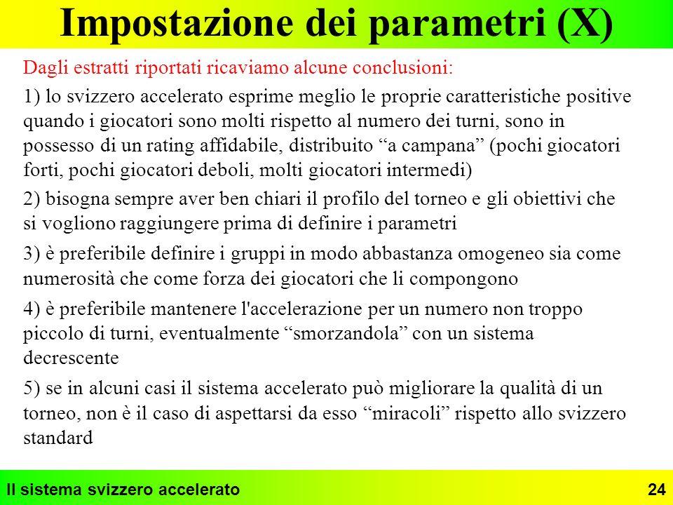 Impostazione dei parametri (X)