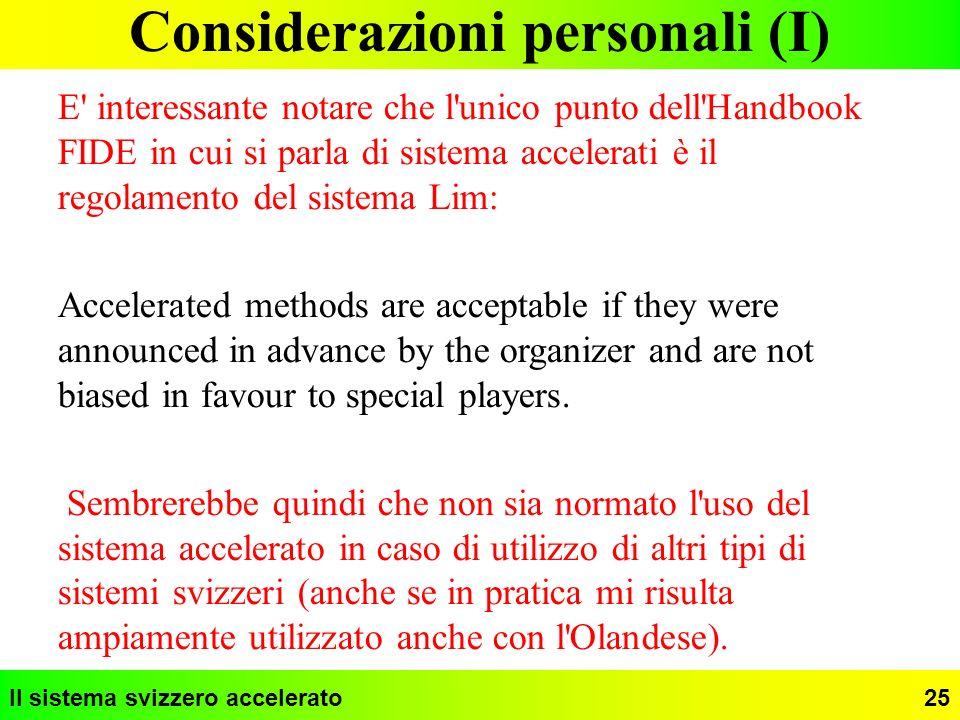 Considerazioni personali (I)
