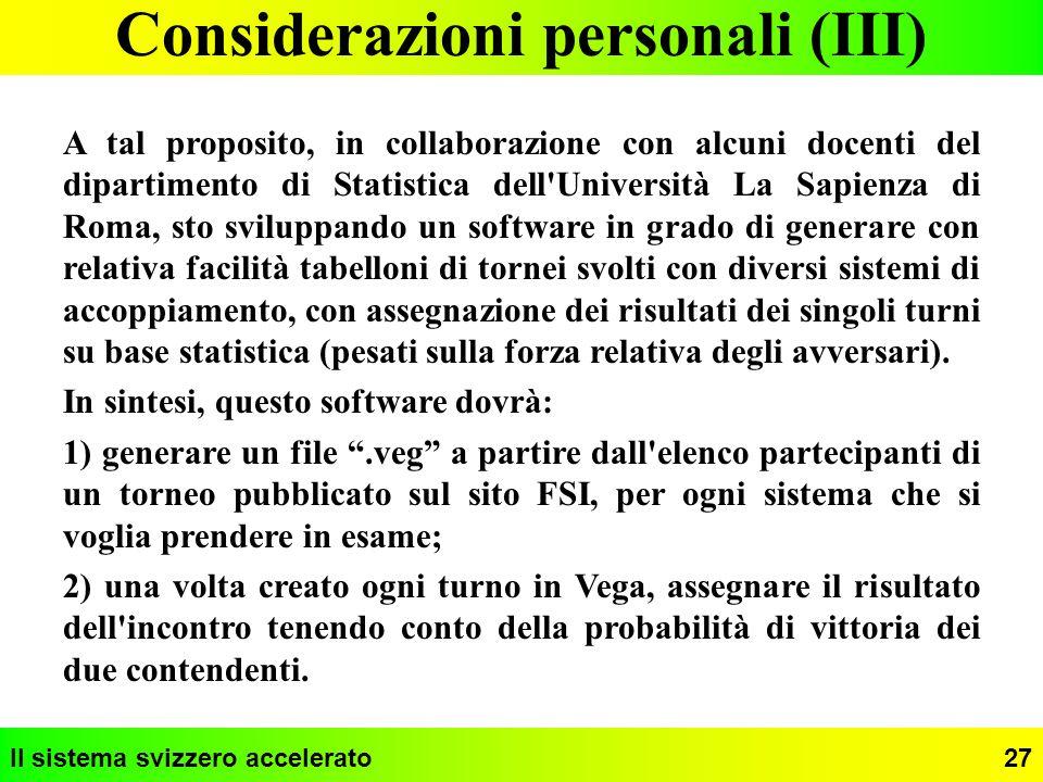 Considerazioni personali (III)