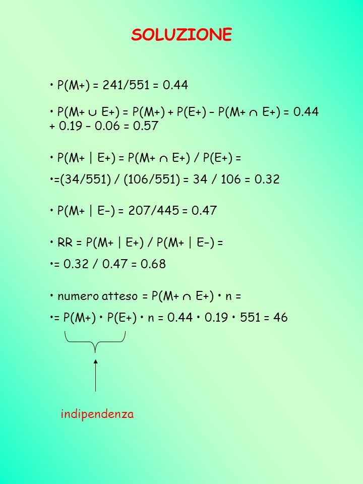 SOLUZIONE P(M+) = 241/551 = 0.44. P(M+  E+) = P(M+) + P(E+) – P(M+  E+) = 0.44 + 0.19 – 0.06 = 0.57.