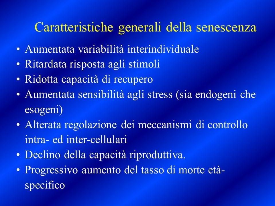 Caratteristiche generali della senescenza