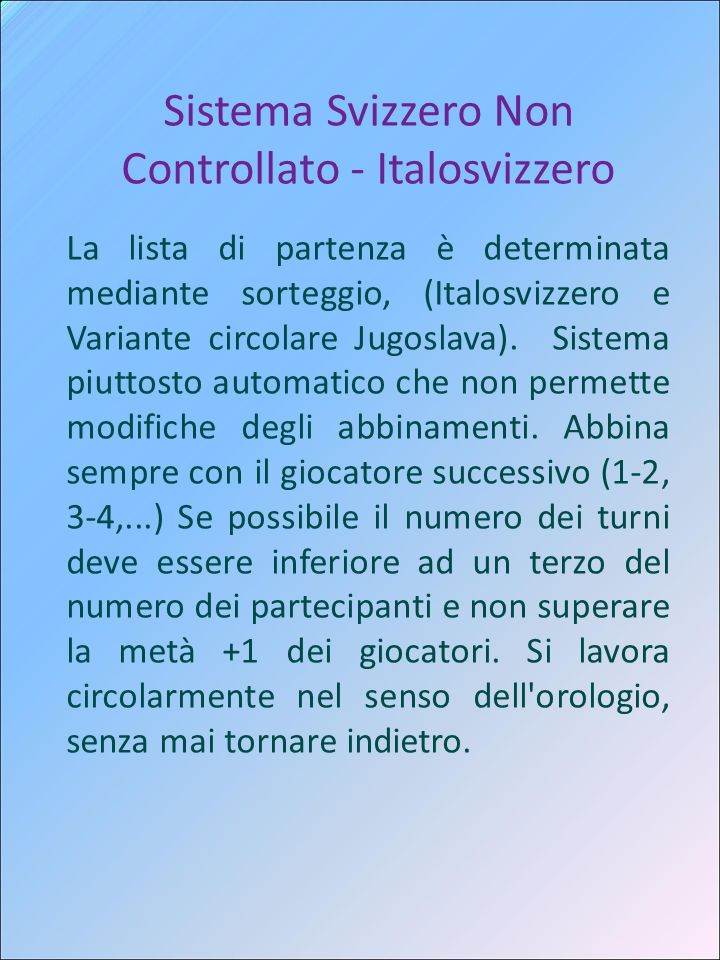 Sistema Svizzero Non Controllato - Italosvizzero