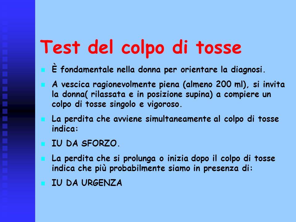 Test del colpo di tosse È fondamentale nella donna per orientare la diagnosi.