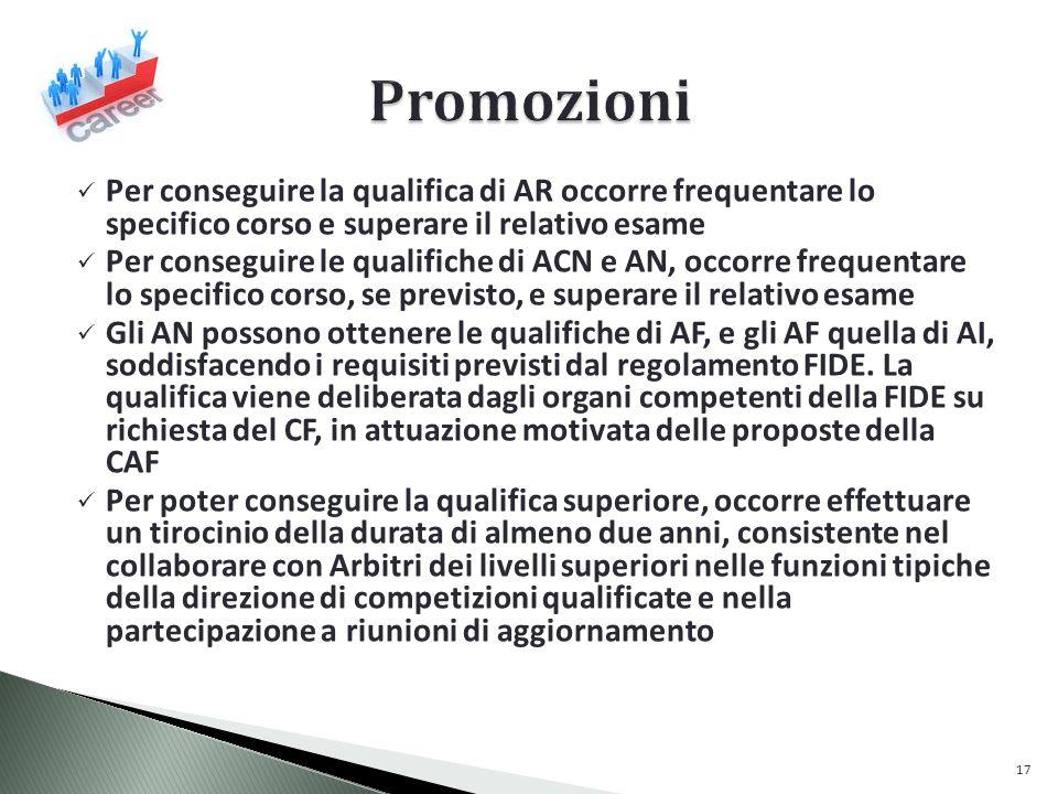 Promozioni Per conseguire la qualifica di AR occorre frequentare lo specifico corso e superare il relativo esame.