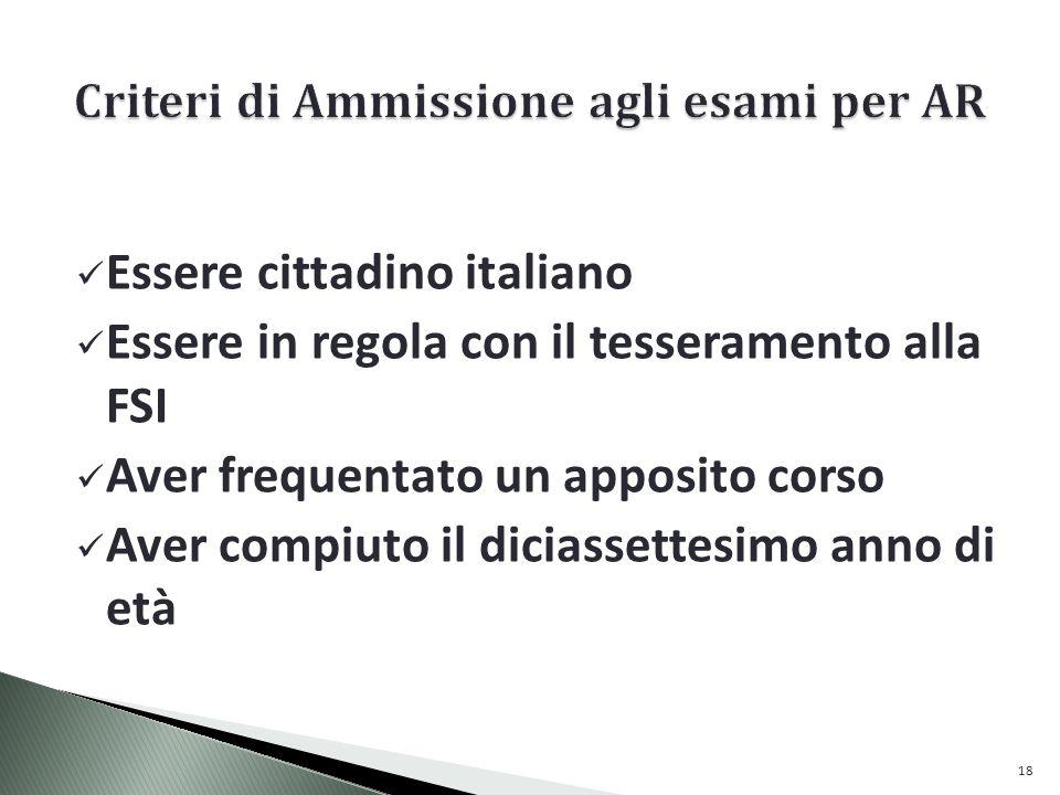 Criteri di Ammissione agli esami per AR