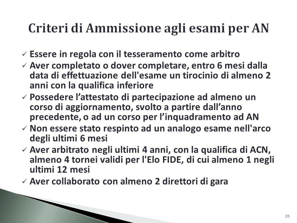 Criteri di Ammissione agli esami per AN