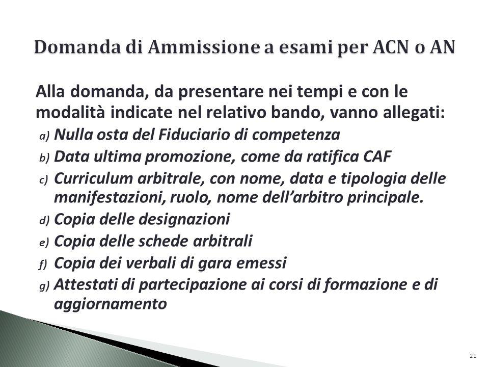 Domanda di Ammissione a esami per ACN o AN