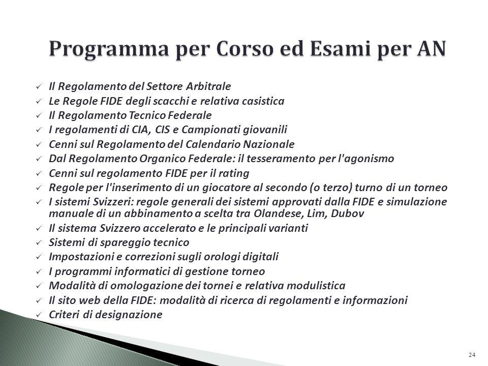 Programma per Corso ed Esami per AN