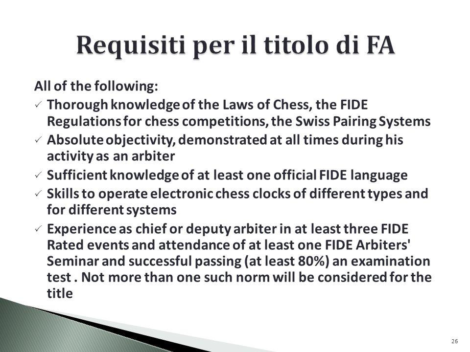 Requisiti per il titolo di FA