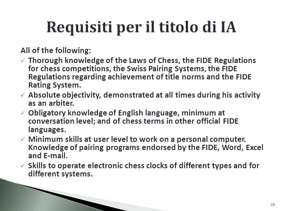 Requisiti per il titolo di IA