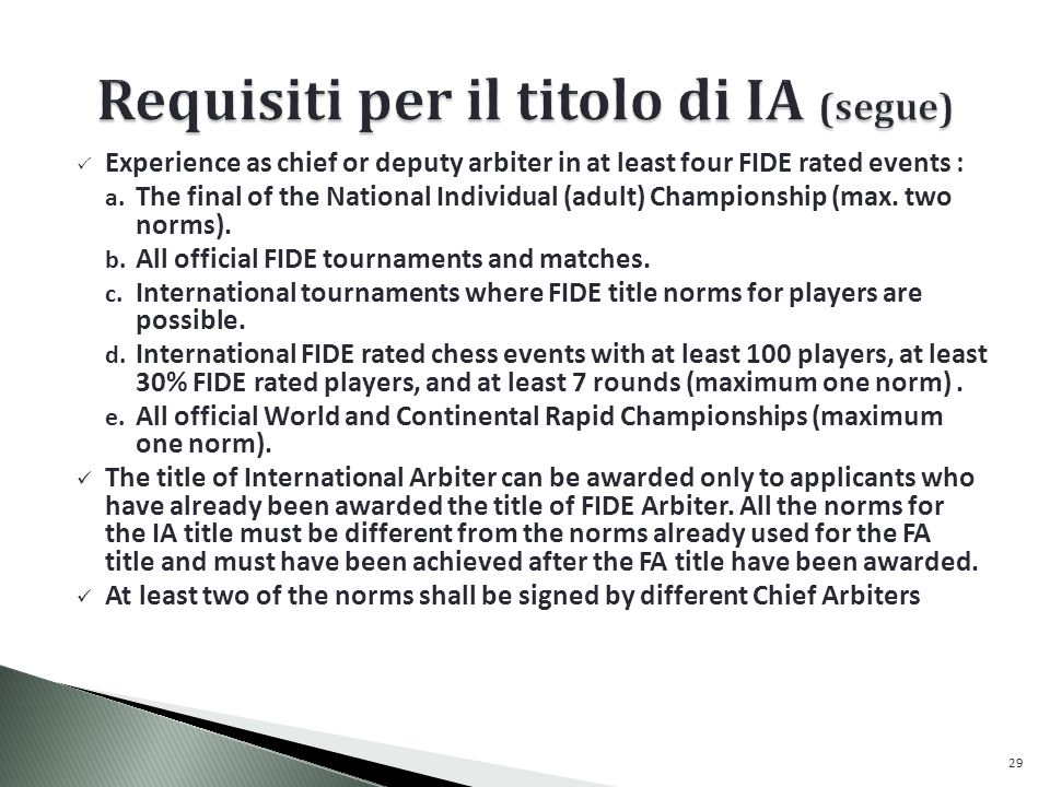 Requisiti per il titolo di IA (segue)
