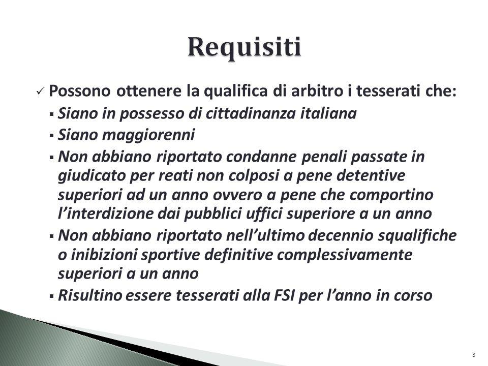 Requisiti Possono ottenere la qualifica di arbitro i tesserati che: