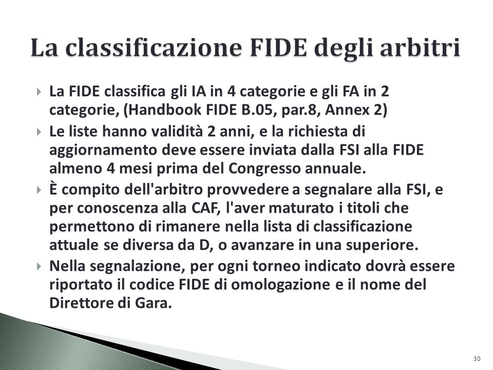 La classificazione FIDE degli arbitri