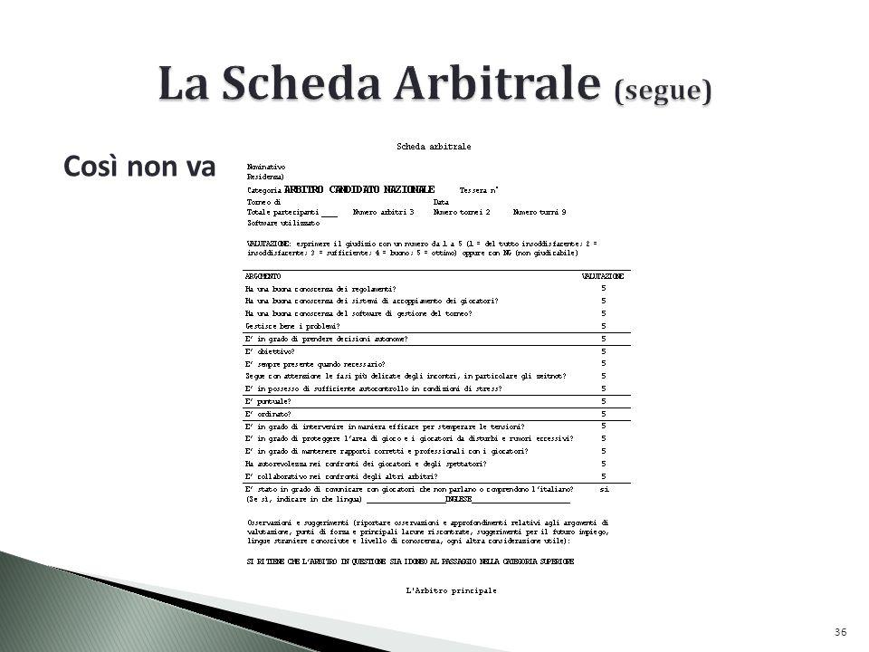 La Scheda Arbitrale (segue)