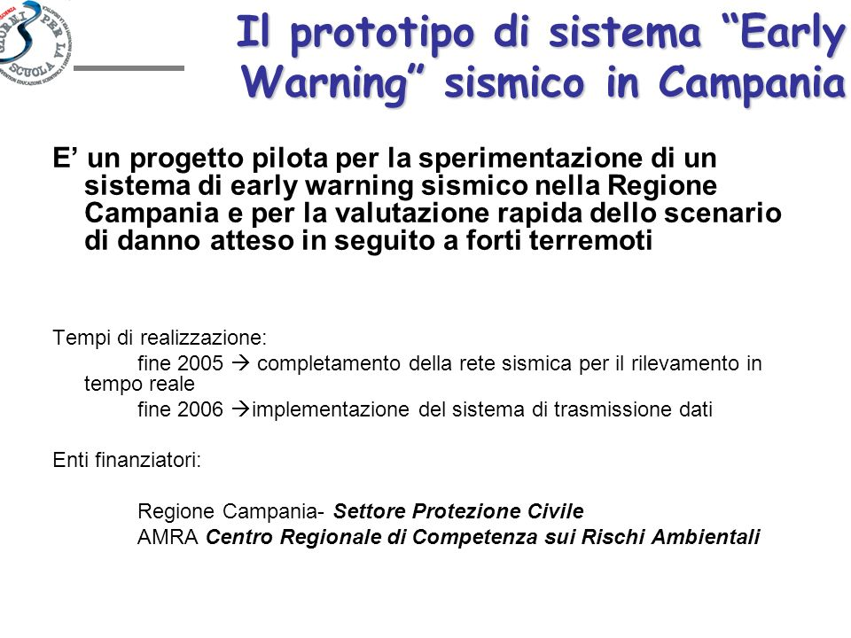 Il prototipo di sistema Early Warning sismico in Campania