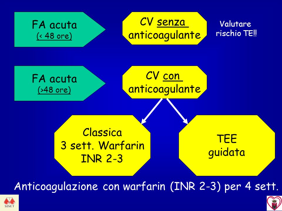 Anticoagulazione con warfarin (INR 2-3) per 4 sett.