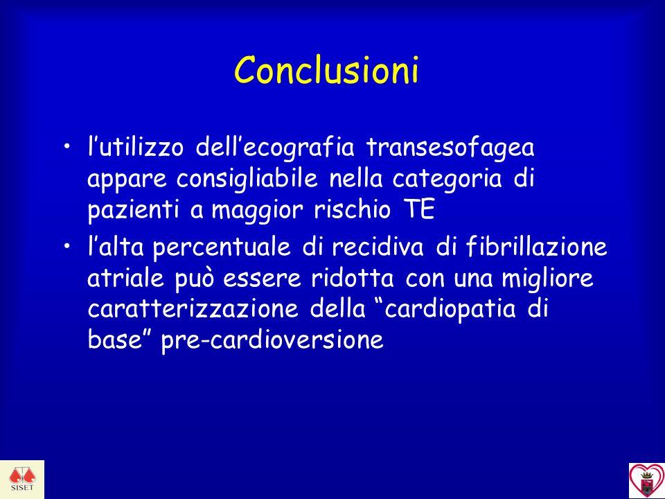 Conclusioni l'utilizzo dell'ecografia transesofagea appare consigliabile nella categoria di pazienti a maggior rischio TE.