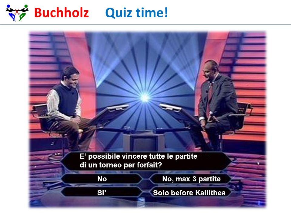 Buchholz Quiz time! E' possibile vincere tutte le partite