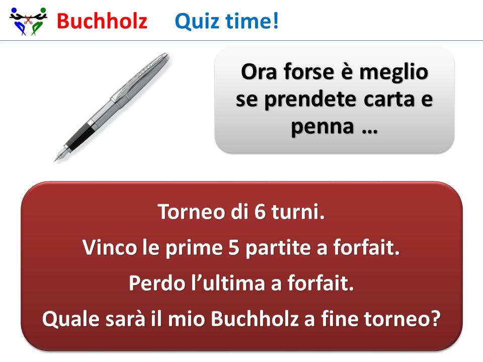 Buchholz Quiz time! Ora forse è meglio se prendete carta e penna …
