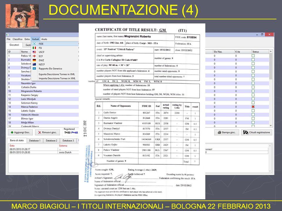 MARCO BIAGIOLI – I TITOLI INTERNAZIONALI – BOLOGNA 22 FEBBRAIO 2013
