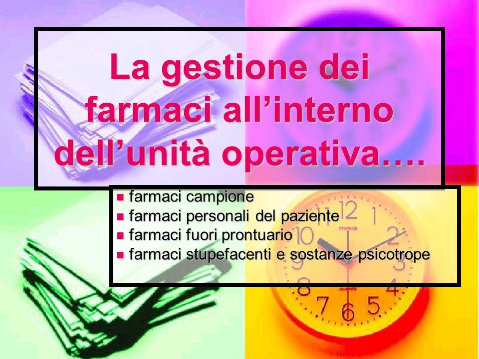 La gestione dei farmaci all'interno dell'unità operativa….