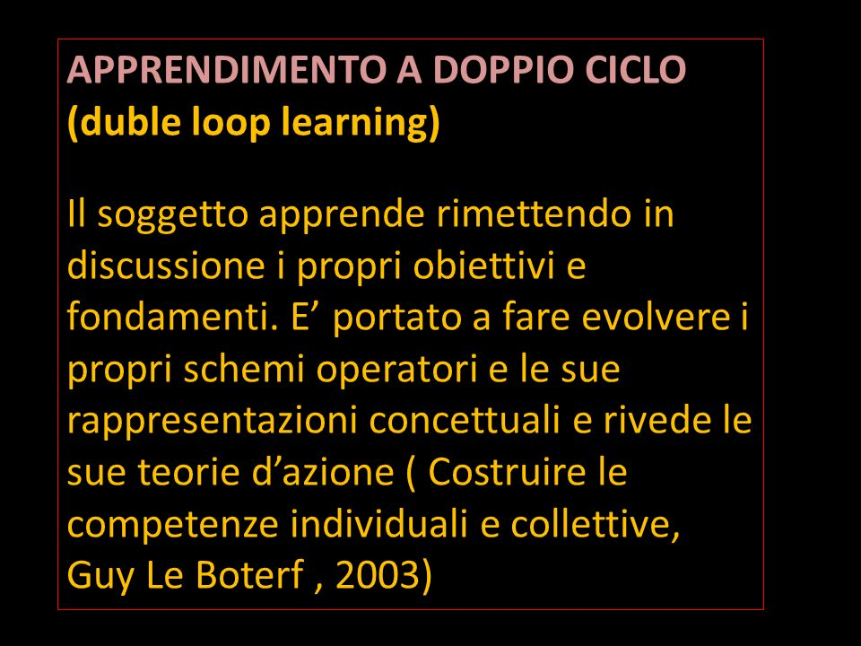 APPRENDIMENTO A DOPPIO CICLO (duble loop learning)