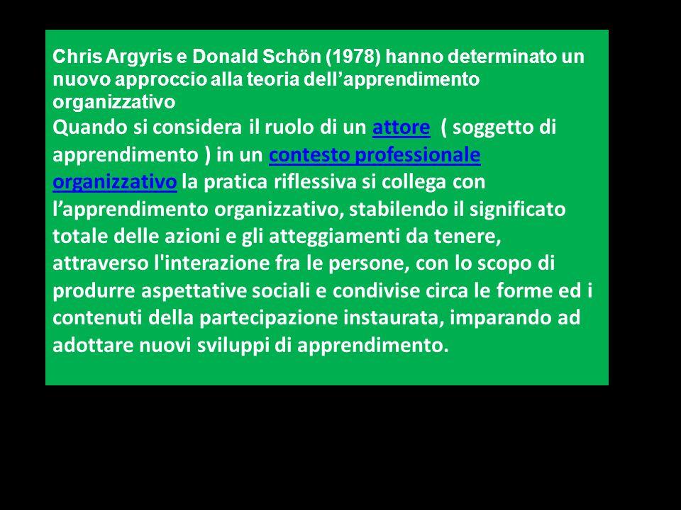 Chris Argyris e Donald Schön (1978) hanno determinato un nuovo approccio alla teoria dell'apprendimento organizzativo