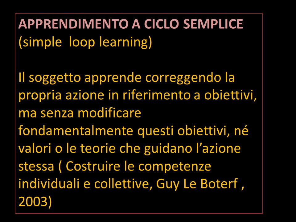 APPRENDIMENTO A CICLO SEMPLICE (simple loop learning)