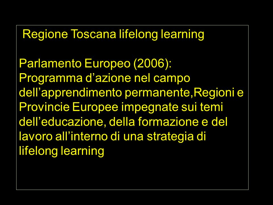 Regione Toscana lifelong learning