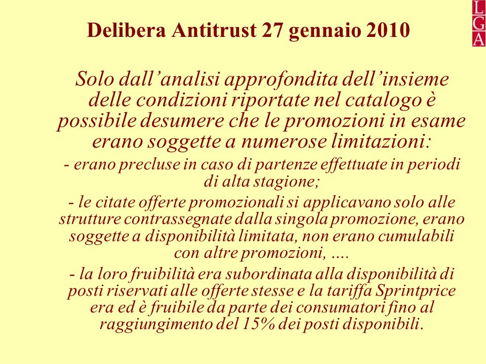 Delibera Antitrust 27 gennaio 2010