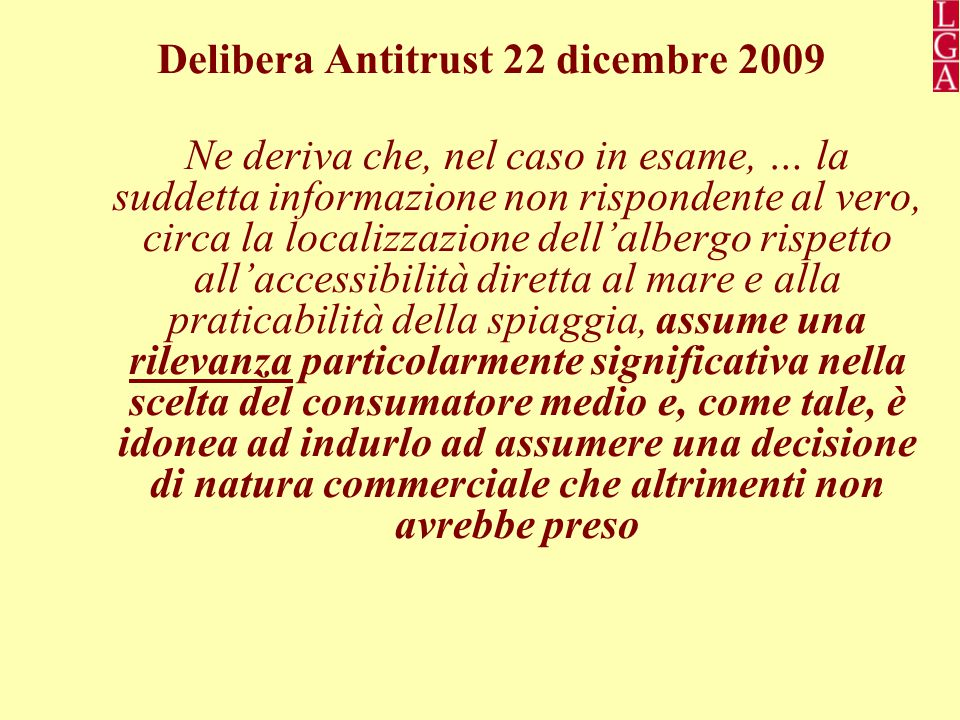 Delibera Antitrust 22 dicembre 2009
