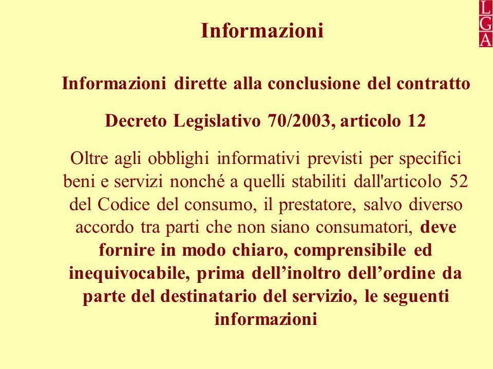 Informazioni Informazioni dirette alla conclusione del contratto