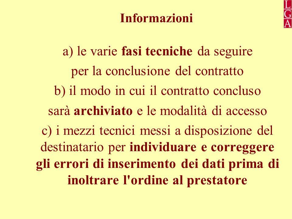 a) le varie fasi tecniche da seguire per la conclusione del contratto