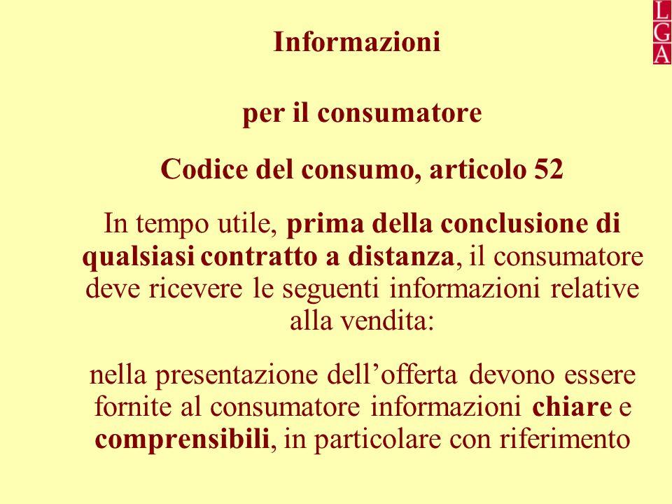 Codice del consumo, articolo 52