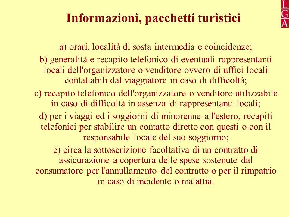 Informazioni, pacchetti turistici