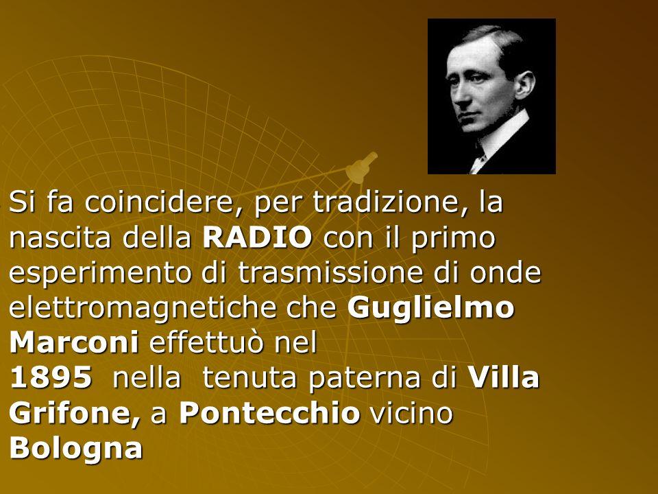 Si fa coincidere, per tradizione, la nascita della RADIO con il primo esperimento di trasmissione di onde elettromagnetiche che Guglielmo Marconi effettuò nel 1895 nella tenuta paterna di Villa Grifone, a Pontecchio vicino Bologna