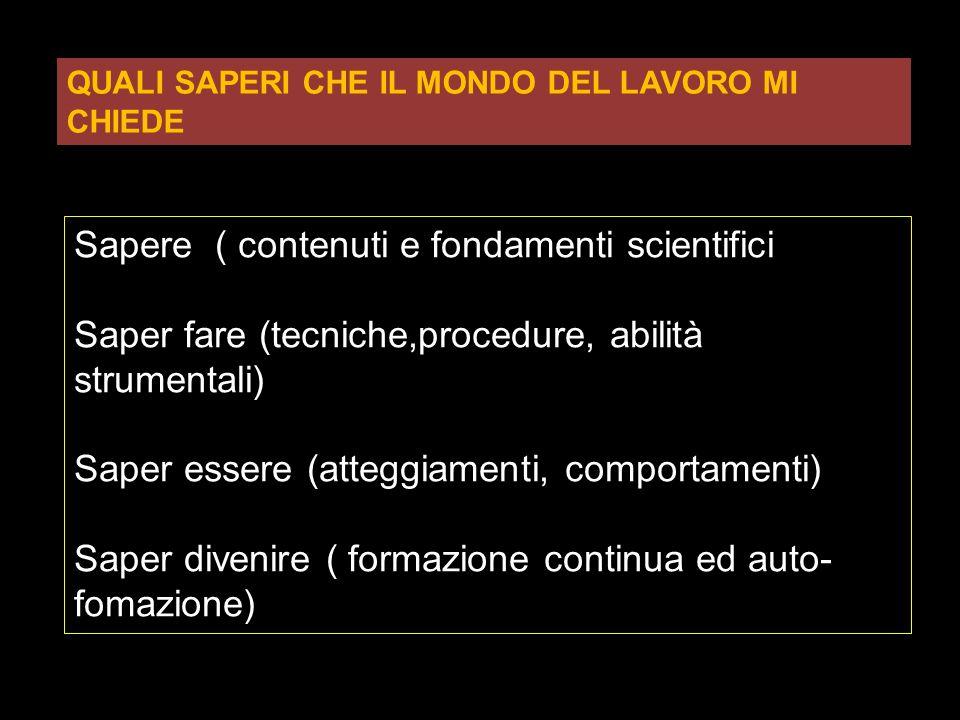 Sapere ( contenuti e fondamenti scientifici