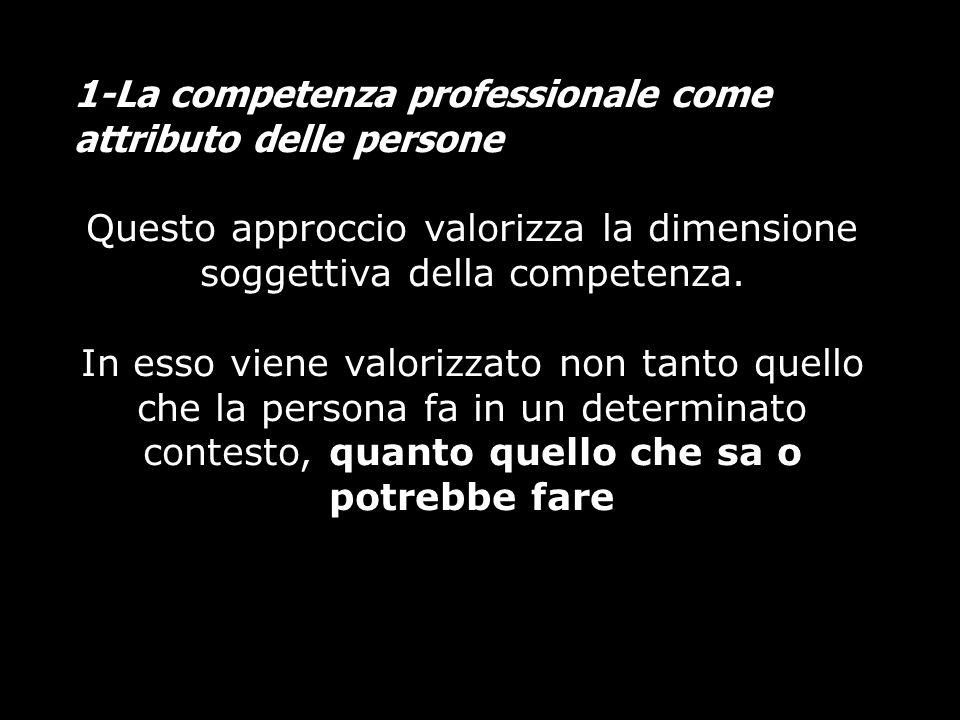 Questo approccio valorizza la dimensione soggettiva della competenza.