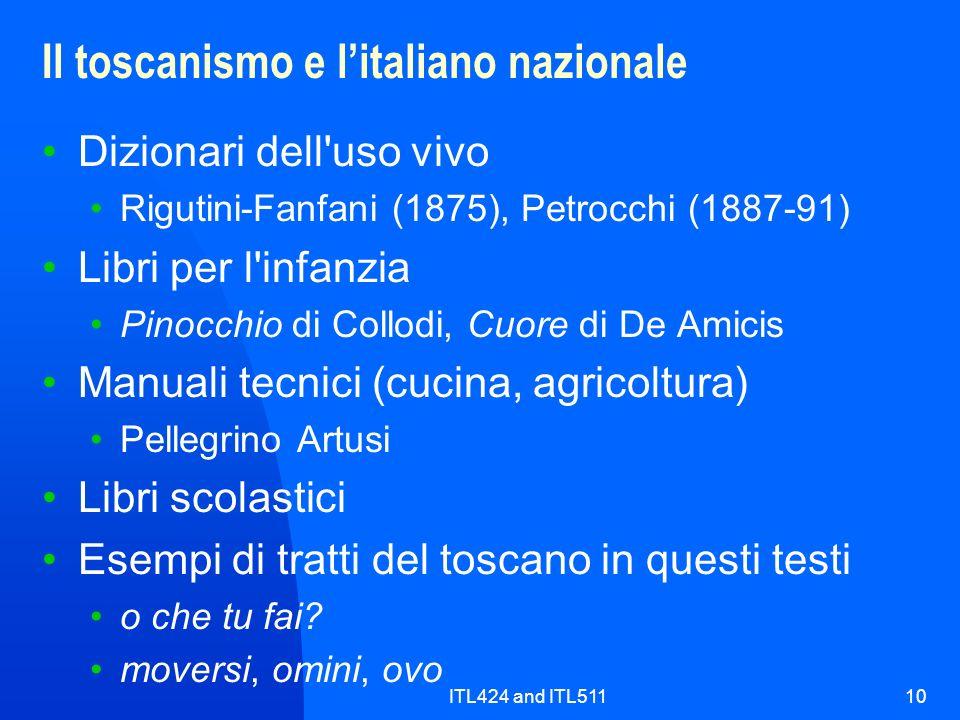Il toscanismo e l'italiano nazionale