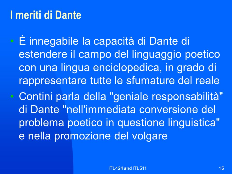 I meriti di Dante