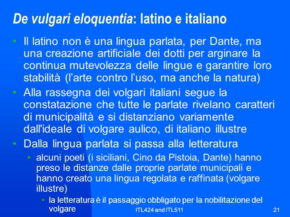 De vulgari eloquentia: latino e italiano