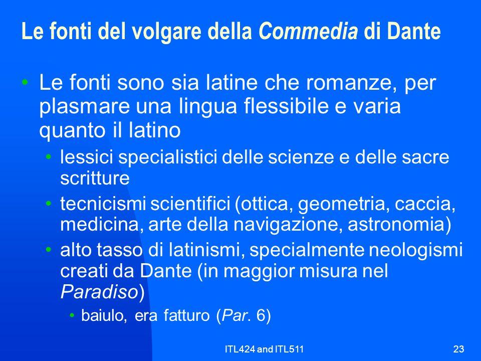 Le fonti del volgare della Commedia di Dante