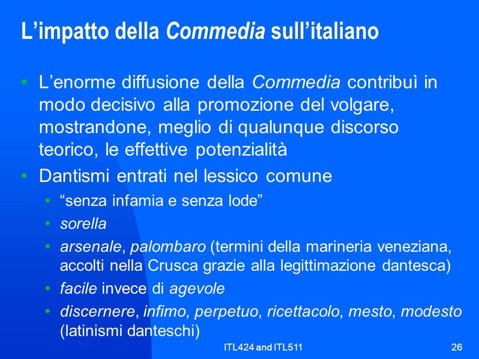 L'impatto della Commedia sull'italiano