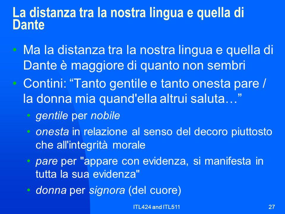 La distanza tra la nostra lingua e quella di Dante